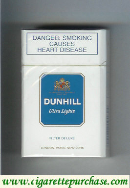 Discount Dunhill Ultra Lights Filter De Luxe white and blue cigarettes hard box