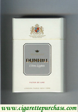 Discount Dunhill Ultra Lights Filter De Luxe white and grey cigarettes hard box