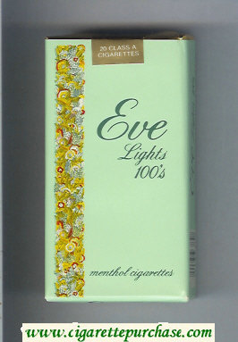 Discount EVE Lights 100s Menthol cigarettes soft box