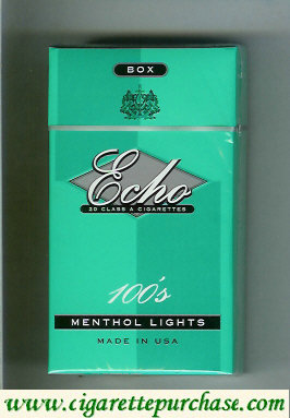 Echo 100s Menthol Lights cigarettes hard box