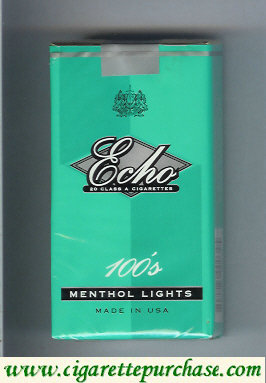 Echo 100s Menthol Lights cigarettes soft box