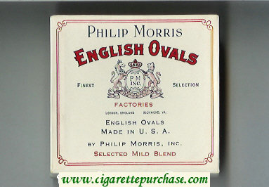 English Ovals Philip Morris cigarettes wide flat hard box