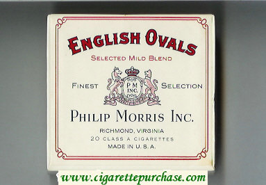 English Ovals Selected Mild Blend cigarettes wide flat hard box