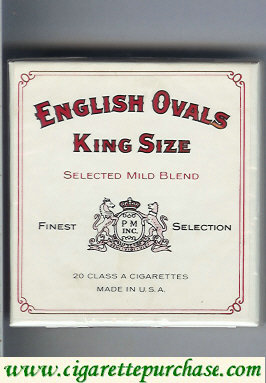 Discount English Ovals Selected Mild Blend King Size cigarettes wide flat hard box