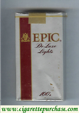 Epic De Luxe Lights silver 100s cigarettes soft box