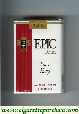 Epic Deluxe Filter Kings white cigarettes soft box