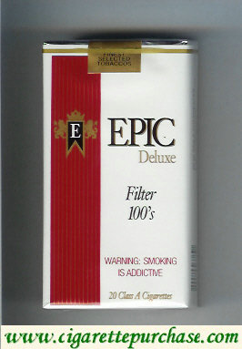 Epic Deluxe Filter 100s white cigarettes soft box
