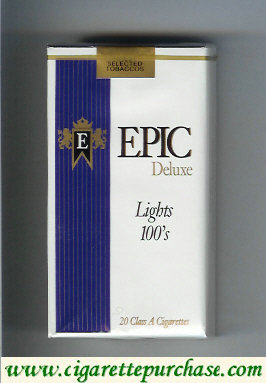 Epic Deluxe Lights 100s white cigarettes soft box