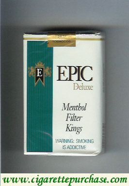 Epic Deluxe Menthol Filter Kings white cigarettes soft box