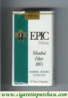 Epic Deluxe Menthol Filter 100s white cigarettes soft box