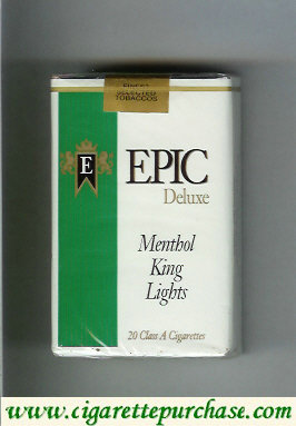 Epic Deluxe Menthol King Lights white cigarettes soft box
