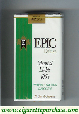 Epic Deluxe Menthol Lights 100s white cigarettes soft box