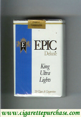 Epic Deluxe King Ultra Lights white cigarettes soft box