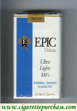 Epic Deluxe Ultra Lights 100s white cigarettes soft box