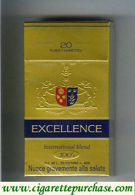 Excellence International Blend 100s cigarettes hard box