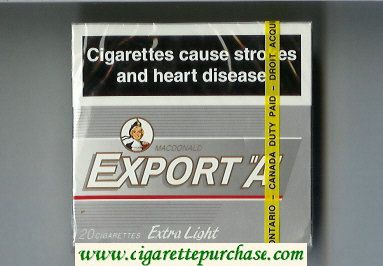 Export 'A' Macdonald 20 cigarettes Extra Light silver wide flat hard box