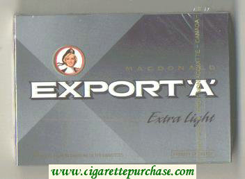 Export 'A' Macdonald Extra Light 25s cigarettes wide flat hard box