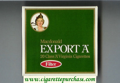 Export 'A' Macdonald Filter green cigarettes wide flat hard box