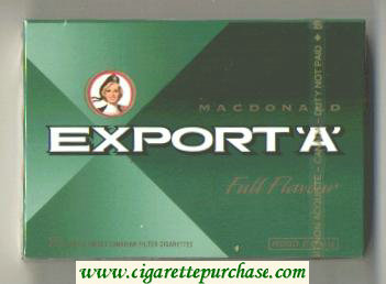 Export 'A' Macdonald Full Flavor 25s cigarettes wide flat hard box