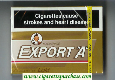 Export 'A' Macdonald 25s cigarettes Light gold wide flat hard box