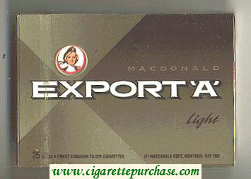 Discount Export 'A' Macdonald 25s cigarettes Light wide flat hard box