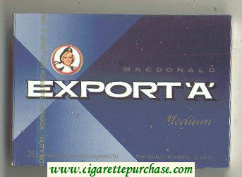 Discount Export 'A' Macdonald Medium 25s cigarettes wide flat hard box