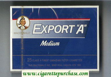 Discount Export 'A' Macdonald Medium 25s cigarettes blue wide flat hard box