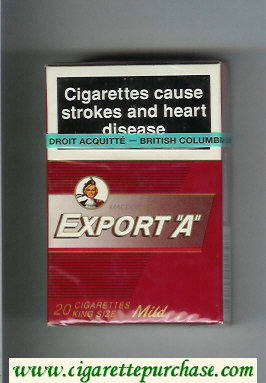 Discount Export 'A' Macdonald Mild red cigarettes hard box