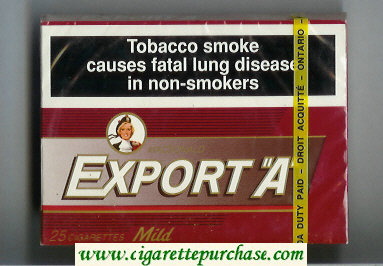Discount Export 'A' Macdonald 25s cigarettes Mild wide flat hard box