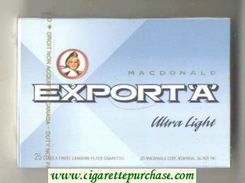 Discount Export 'A' Macdonald Ultra Light 25s cigarettes wide flat hard box