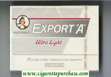Discount Export 'A' Macdonald Ultra Light 25s cigarettes white wide flat hard box
