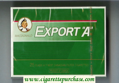 Discount Export 'A' Macdonald 25s cigarettes green wide flat hard box