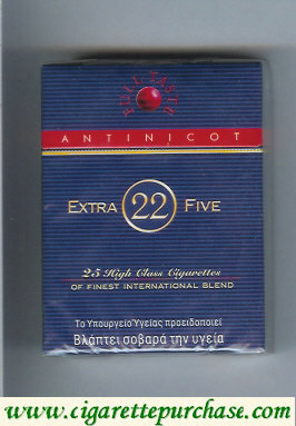 Discount Extra 22 Five Antinicot cigarettes hard box