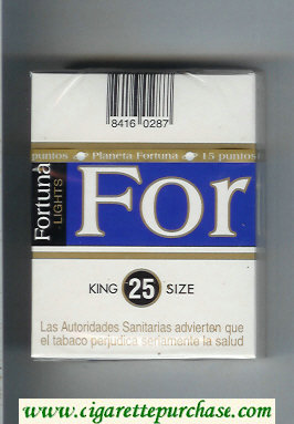 Discount Fortuna Lights King Size 25s cigarettes hard box