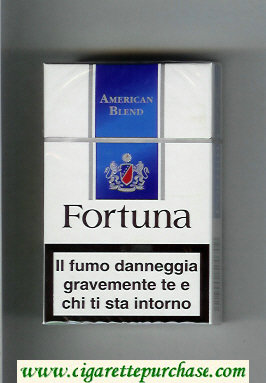 Discount Fortuna American Blend white and blue cigarettes hard box