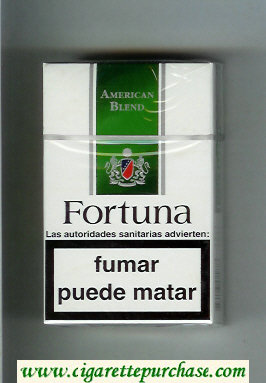Discount Fortuna American Blend white and green cigarettes hard box