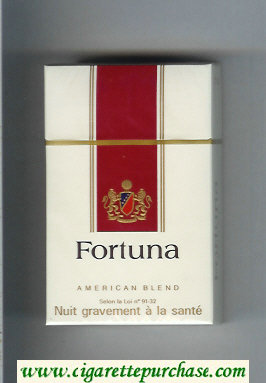 Discount Fortuna American Blend white and red cigarettes hard box