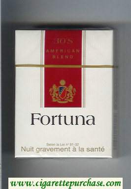 Discount Fortuna American Blend 30s white and red cigarettes hard box