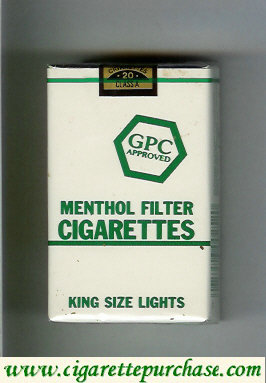 Discount GPC Approved Menthol Filter Cigarettes King Size Lights soft box