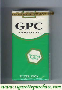 Discount GPC Approved Menthol Lights Filter 100s Cigarettes soft box