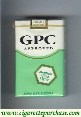 Discount GPC Approved Menthol Ultra Lights King Size Filters Cigarettes soft box