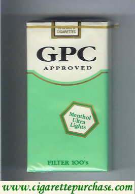 Discount GPC Approved Menthol Ultra Lights Filter 100s Cigarettes soft box