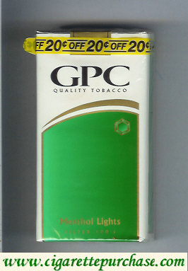 Discount GPC Quality Tabacco Menthol Lights Filter 100s Cigarettes soft box