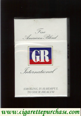 GR Fine American Blend International white cigarettes hard box