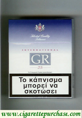 GR Selected Quality Tobaccos International 25s white and blue cigarettes hard box