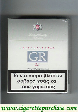 GR Selected Quality Tobaccos International 25s white and grey cigarettes hard box