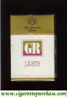 GR Fine American Tobaccos Lights white and gold cigarettes hard box