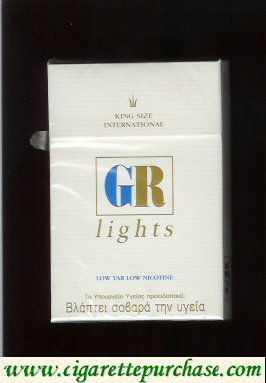 GR King Size International Lights white cigarettes hard box