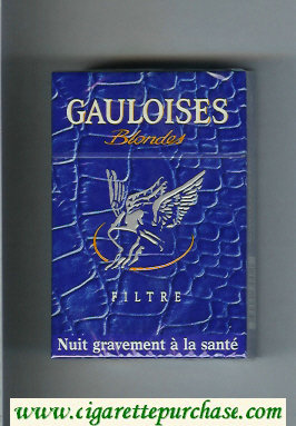 Discount Gauloises Blondes Filtre blue cigarettes hard box