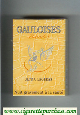Discount Gauloises Blondes Ultra Legeres yellow cigarettes hard box